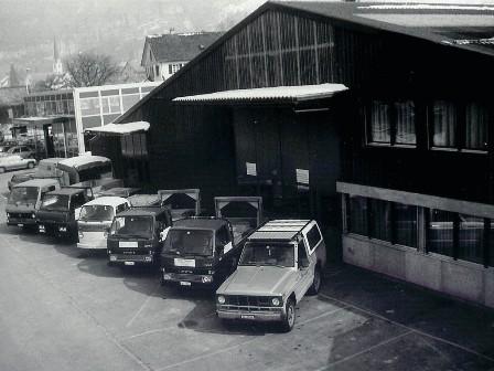 Die neue grosszügig ausgelegte Werkhalle an der Zinggenstrasse 1 in Mollis. (Neubau 1983)
